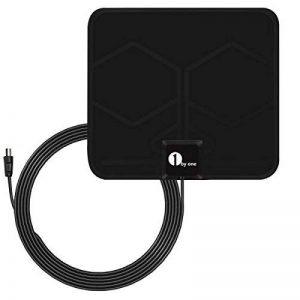 1byone 0.5mm Antenne TNT Intérieure Full HD HDTV Aérienne avec d'Excellente Performance pour DVB-T TNT Numérique et Analogique TV Signaux, VHF / UHF / FM, Fenêtre Aérienne, avec 4M Câble, à 40km Range-Noir de la marque 1 BY ONE image 0 produit