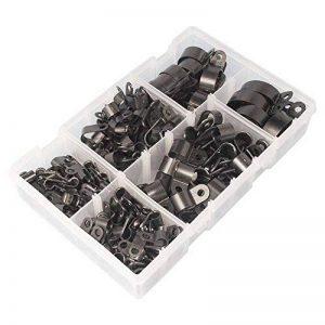 200colliers en nylon noir à clip vis de montage de type R de câble pince de fermeture pour fils en plastique câble cordon clip pour l'organisation des câbles de la marque AGGER image 0 produit