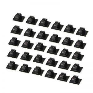 30 PCS Câbles Adhésifs Clips de Câble, Premium Adhésif 3M Fil Nylon Colliers de Serrage Câble,agrafes de câble réglable pinces de fil adhésif en nylon, support de câble de bureau, noir de la marque PoWise image 0 produit