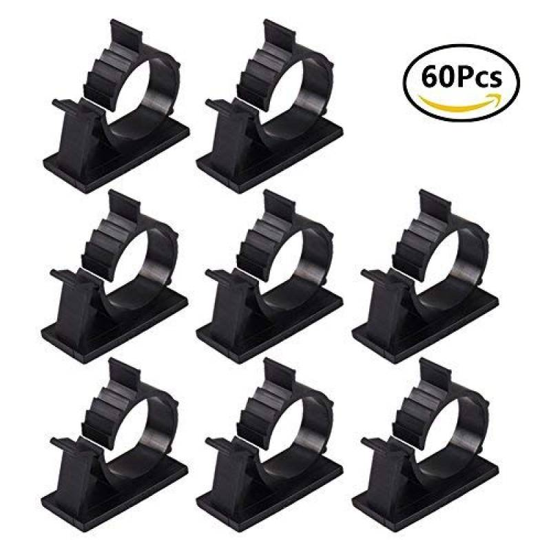 More Power Lot de 10 supports de c/âble USB pour bureau de voiture ou de bureau Noir