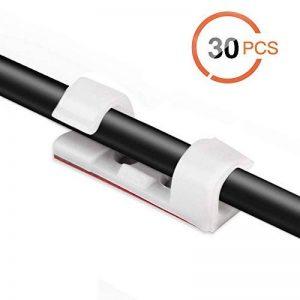 AGPTEK 30PCS Clips Câbles Adhésifs Rangement de Câbles Fixation Auto Collant, Gestion de Câble Support Organiseur de Fils Electriques pour TV/Chargeur/Voiture/Ordinateur/PC/Bureau/Maison avec 30 Vis incluse - Blanc de la marque AGPTEK image 0 produit