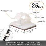 AGPTEK 50 Pièces Câble Rangement Adhésif, Serre Câble de Gestion Cache Câble de Bureau Fixation (25 pièces serre - câble & 25 ceinture réglable de câbles)- Blanc de la marque AGPTEK image 1 produit