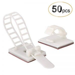 AGPTEK 50 Pièces Câble Rangement Adhésif, Serre Câble de Gestion Cache Câble de Bureau Fixation (25 pièces serre - câble & 25 ceinture réglable de câbles)- Blanc de la marque AGPTEK image 0 produit