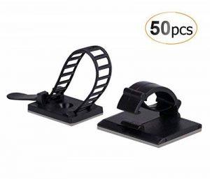 AGPTEK 50 Pièces Rangement de câble adhésives ( 25 pièces serre - câble & 25 ceinture réglable de câbles), Noir de la marque AGPTEK image 0 produit