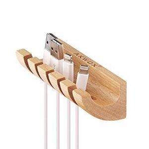 Akwox Organisateur de câble en bois système de gestion de cordon 5 fentes pour les câbles de charge,cordon de souris Cable Management pour les Câbles USB,Chargeurs de Téléphones Bureau Maison de la marque Akwox image 0 produit