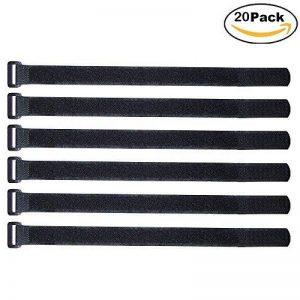 ARTGEAR Lot de 20 pièce Attaches de Câbles scratch, 2 ×30 cm Serres-Câbles Réutilisables, Attache Câble en Nylon Réglable, Crochet et Boucle (Noir) de la marque ARTGEAR image 0 produit