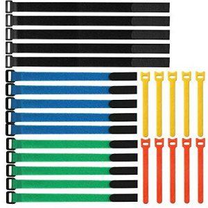 ARTGEAR Lot de 25 pièce Attaches de Câbles Assorties ,Serres-Câbles de Fixation Réutilisables, Attache Câble en Nylon Réglable, avec Crochet et Boucle, pour PC Ordinateur Électronique de la marque ARTGEAR image 0 produit