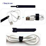 Attaches de câble 50 pièces couleur noire attaches réutilisables de câble et sangles auto-adhésives pour la gestion de câbles de câble d'USB de PC/VelcroCableTies de la marque LiteTour image 4 produit