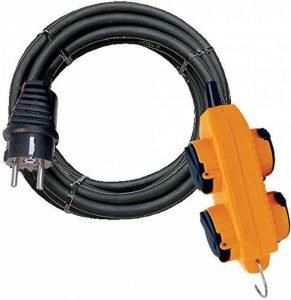 Brennenstuhl Cordon prolongateur (5 m) Powerblock IP44, rallonge électrique avec 4 prises à clapet et câble H07RN-F 3G2,5, noir & jaune, Quantité : 1 de la marque Brennenstuhl image 0 produit