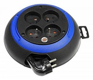 Brennenstuhl Design-Box, Enrouleur électrique 4 prises (avec empreintes ergonomiques sur le boîtier pour faciliter l'enroulement / câble 3m) coloris: noir / bleu de la marque Brennenstuhl image 0 produit