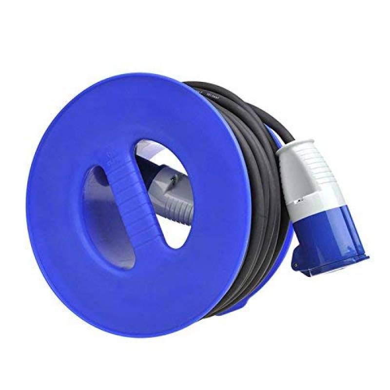 1,5 mm2 Enrouleur de c/âble de camping pour c/âble dextension CEE max 30 m Bleu