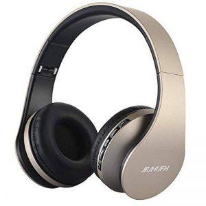 Casque Bluetooth sans Fil sur L'oreille, JIUHUFH Wireless Ecouteur con Mic, Doux Cache – Oreilles de Mémoire – Protéine pour Android, iPhone, Tablet (Or) de la marque JIUHUFH image 0 produit