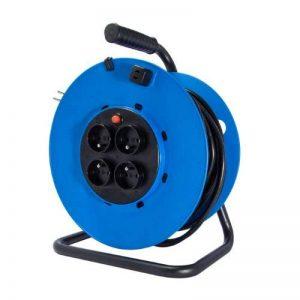 Chacon 89038 Dérouleur avec prise fixe 4 x 16 A 50 m 3 x 1,5 mm Tambour Bleu de la marque CHACON image 0 produit
