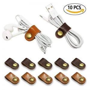 Écouteurs Enrouleur de câble Cuir Sangles, Apple Lightning Câble Ties Cordon Cuir Organiseur Clips, câble USB, écouteurs Enrouleur avec cuir faite à la main (lot de 10) de la marque FIBOUND image 0 produit