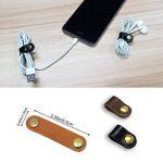 Écouteurs Enrouleur de câble Cuir Sangles, Apple Lightning Câble Ties Cordon Cuir Organiseur Clips, câble USB, écouteurs Enrouleur avec cuir faite à la main (lot de 10) de la marque FIBOUND image 3 produit