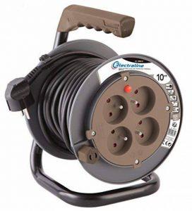 Electraline 208610 Rallonge Prolongateur électrique 10 m avec enrouleur 4 Prises 16 A section 3G1,5 mm² Taupe de la marque Electraline image 0 produit