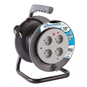 Electraline 208612 Rallonge Prolongateur électrique 15 m avec enrouleur 4 Prises 16 A section 3G1,5 mm² Gris de la marque Electraline image 0 produit
