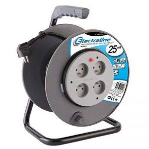 Electraline 20867018F Rallonge Prolongateur électrique 25 m avec enrouleur 4 Prises 16 A section 3G1,5 mm² Gris de la marque Electraline image 0 produit