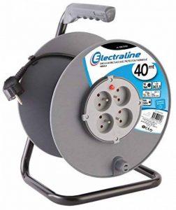 Electraline 20867018G Rallonge Prolongateur électrique 40 m avec enrouleur 4 Prises 16 A section 3G1,5 mm² Gris de la marque Electraline image 0 produit