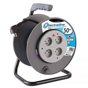 Electraline 20867019F Rallonge Prolongateur électrique 50 m avec enrouleur 4 Prises 16 A section 3G1,5 mm² Gris de la marque Electraline image 0 produit