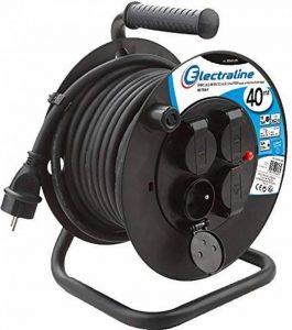 Electraline 20868129D Rallonge Prolongateur électrique IP44 Profesionnelle 40 m avec enrouleur Noir - Section 3G2,5 mm² de la marque Electraline image 0 produit