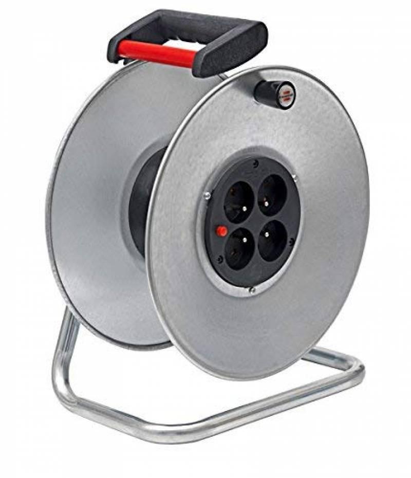 Jaune//Noir Protection surcharge thermique Châssis interne en acier ultra résistant FINATECH PRO-BOOSTER Coque externe chocs Verrouillage du tambour Enrouleur électrique automatique 20m