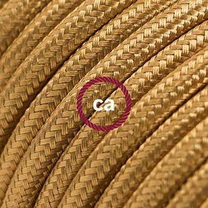 Fil Électrique Rond Gaine De Tissu De Couleur Effet Soie Tissu Uni Or RM05 - 20 mètres, 3x0.75 de la marque Creative-Cables image 0 produit