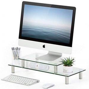FITUEYES 2 Table Réglable Moniter Stand Réhausseur Ecran Ordinateur Portable iMac en Verre Trempé DT206002GC de la marque FITUEYES image 0 produit