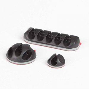 Fixation pour câble adhésive iSHOXS, organiseur pour câbles avec SYSTÈME D'ENFILAGE LATÉRAL et SÉCURITÉ POUR CÂBLE intégrée pour véhicule, maison et bureau, set noir: L pour 5 câbles (2x), M pour 3 câbles (2x) et S pour 1 câble (8x) de la marque iSHOXS image 0 produit