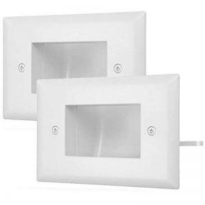 Fosmon 1-Gang (2 Pack) Plaque Murale, Encastré basse tension plaque de câble In-Wall Installation pour Speaker Wires,Câble coaxial, câbles HDMI, ou câbles de réseau / Câbles Téléphoniques (blanc) de la marque Fosmon image 0 produit