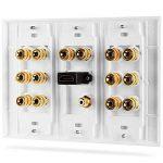 Fosmon [3-Gang 7.1 Surround Distribution] Accueil Théâtre Plaque Murale - Qualité Premium Gold plaqué cuivre Banana Reliure Plate Poster Coupler Type de mur pour 7 haut-parleurs, 1 RCA Jack pour Subwoofer & 1 High Speed Port HDMI avec Ethernet (Blanc) de image 2 produit