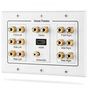 Fosmon [3-Gang 7.1 Surround Distribution] Accueil Théâtre Plaque Murale - Qualité Premium Gold plaqué cuivre Banana Reliure Plate Poster Coupler Type de mur pour 7 haut-parleurs, 1 RCA Jack pour Subwoofer & 1 High Speed Port HDMI avec Ethernet (Blanc) de image 0 produit