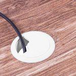 Gedotec Passe Câble de Bureau et Plan de Travail | Encastrable pour Connexion de Câble USB, Alimentation, CPU & Moniteur | Plastique PVC | Diamètre Forage: 60mm – Œillet: 71mm | Blanc | 2 Pièces de la marque Gedotec image 3 produit