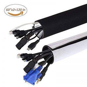 Gifort Câble Rangement du Néoprène, 3M Câble Organisateur, cache-câble pour Ranger ou Cacher les câbles, Gaine pour câbles de Télé ou Ordinateur (Noir Blanc) de la marque Gifort image 0 produit