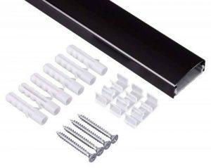 Goulotte passe-câble en aluminium noir arrondie 115 x 3,7 cm pour ordinateur lampes aluminium hiFi tV couverture écran lED, plasma ou lCD de la marque colourliving image 0 produit
