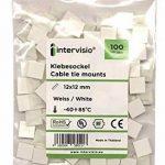 intervisio 100 Pièces Embases Adhesive pour Attache de Cable, 12mm x 12 mm, Blanc, Serre-Câbles Auto Adhésif, Support de Serre Câble Plastique, Embase pour Collier de Serrage de la marque intervisio image 3 produit