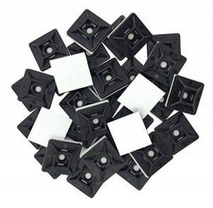 intervisio 100 Pièces Embases Adhesive pour Attache de Cable, 19mm x 19 mm, Noir, Serre-Câbles Auto Adhésif, Support de Serre Câble Plastique, Embase pour Collier de Serrage de la marque intervisio image 0 produit