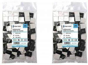intervisio 200 Pièces Embases Adhesive pour Attache de Cable, 19mm x 19 mm, Noir, Serre-Câbles Auto Adhésif, Support de Serre Câble Plastique, Embase pour Collier de Serrage de la marque intervisio image 0 produit