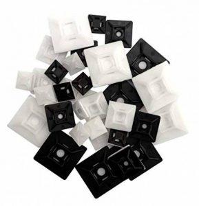 intervisio 50 Pièces Mix Embases Adhesive pour Attache de Cable, 12 mm, 19mm et 28 mm, Noir et Blanc, Serre-Câbles Auto Adhésif, Support de Serre Câble Plastique, Embase pour Collier de Serrage de la marque intervisio image 0 produit