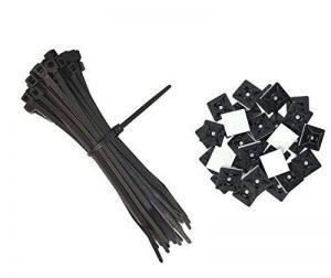 intervisio Collier de Serrage 200 mm x 2,5 mm, Serre Cables, Rilsan, Nylon, Lot de 100 Pièces + Embases Adhesive pour Attache de Cable, 19 mm, Auto Adhésif 50 Pièces Noir de la marque intervisio image 0 produit