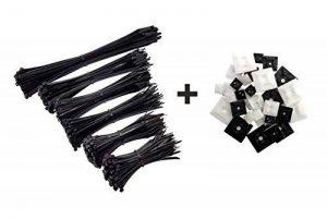 intervisio Lot de 600 Serre-Câbles Plastique, de 80 mm à 300 mm, Noir, Attache Cable Noir Lien Nylon Collier Rilsan + 50 Supports Auto-adhésif pour Colliers de Serrage Plastique de la marque intervisio image 0 produit