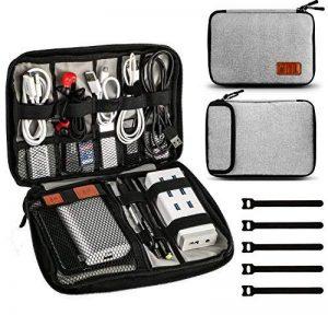 Jamber sac de voyage universel organiseur de câble electronique accessoires sacoche de transport boîte avec 5 pcs attaches de câble, Gris de la marque JamBer image 0 produit