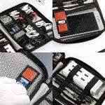 Jamber sac de voyage universel organiseur de câble electronique accessoires sacoche de transport boîte avec 5 pcs attaches de câble, Gris de la marque JamBer image 2 produit