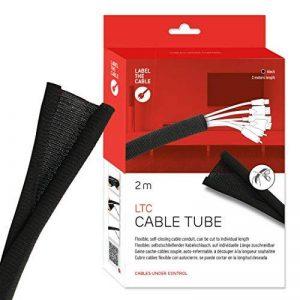 Label-the-cable tube cache-câbles, gaine protège-câbles, guide-câbles: gaine textile tressée, auto-refermable, découpable, très flexible et robuste / Label-the-cable CABLE TUBE, 1 unité, 2m, noir, Label-the-cable 5110 de la marque Label-the-Cable image 0 produit