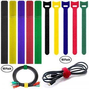 Lot de 100attaches de câble Finegood multicolores (5couleurs) et réutilisables pour fixer et organiser les câbles de tablettes, d'ordinateurs, de télévisions et d'autres appareils électroniques de la marque FineGood image 0 produit