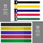 Lot de 100attaches de câble Finegood multicolores (5couleurs) et réutilisables pour fixer et organiser les câbles de tablettes, d'ordinateurs, de télévisions et d'autres appareils électroniques de la marque FineGood image 2 produit