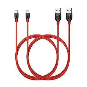 [Pack de 2] Anker PowerLine+ Câbles USB-C vers USB 3.0 de 180 cm Extra Solides pour Appareils USB Type-C (Samsung S8, S8+, S9, nouveau MacBook, ChromeBook Pixel, Nexus 5X, Nexus 6P, Nokia N1, OnePlus 2, ...) de la marque Anker image 0 produit