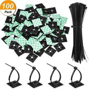 Paquet de 100 Zip Tie Adhésifs Noir Supports Auto-Adhésifs Supports de Base de Serre-Câbles 1,1 x 1,1 Pouces avec Attache-Câble Universel à Usages Multiples Noir, 8 Pouces de la marque Hicarer image 0 produit