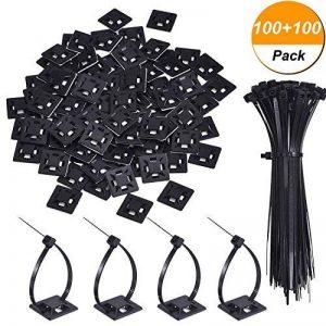Paquet de 100 Zip Tie Adhésifs Noir Supports Auto-Adhésifs Supports de Base de Serre-Câbles avec Attache-Câble Universel à Usages Multiples Noir (Longueur 150 mm, Largeur 2 cm) de la marque Hicarer image 0 produit