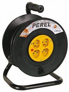 Perel 51012 Rallonge électrique sur enrouleur 4 prises avec disjoncteur de sécurité 50 m Noir de la marque Perel image 0 produit
